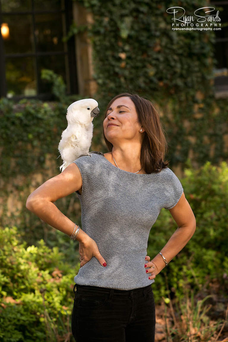 Newtown PA Photographer - You can see her pet parrot sitting on her shoulder posing for the camera.