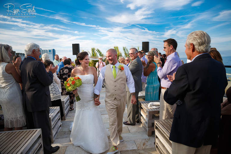 new jersey beach wedding bride and groom walking down the aisle