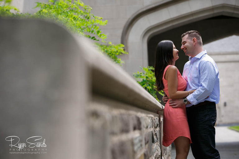 Princeton Engagement Session - The future bride and groom spend a moment together on the university campus.
