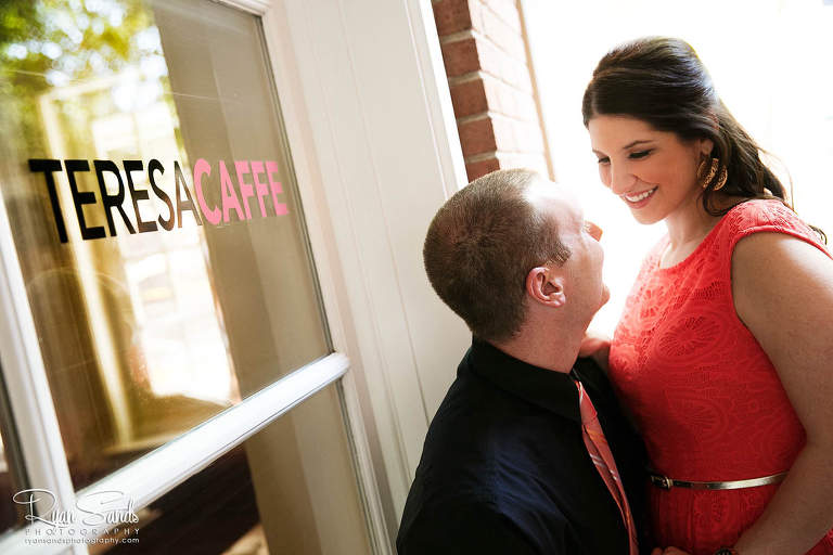 Princeton NJ Wedding Photographer - The happy couple stand in front of Teresa Caffe, where they had their first date.