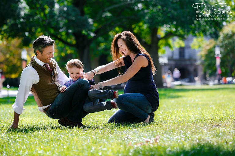 As a Princeton family photographer, you should know simple tricks for getting your family to interact. Here you can see the lush greens of summer, the beautiful tall trees and my family playing in the summer sun.